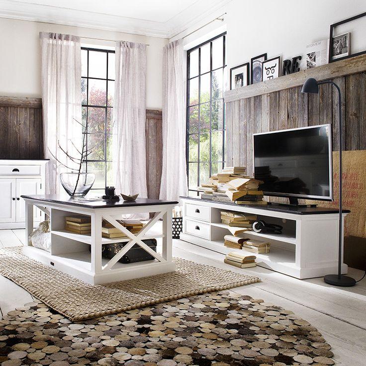 TV-meubel Landhuis, wit hout met zwart blad van Nova Solo https://www.meubelen-online.nl/TV-meubel-Landhuis-180cm-wit-met-zwart-blad