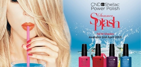 ND Shellac™ Power Polish™, dives into summer with four splashy, new brights to beautifully compliment sultry summer tans. The Summer Splash collection is now available. CND Shellac goes on like polish, wears like gel and comes off in minutes with no nail damage.  7.3ml