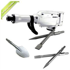 Neiko 6-Piece Electric Jack Hammer with Extra Spade and Chisels Accessories