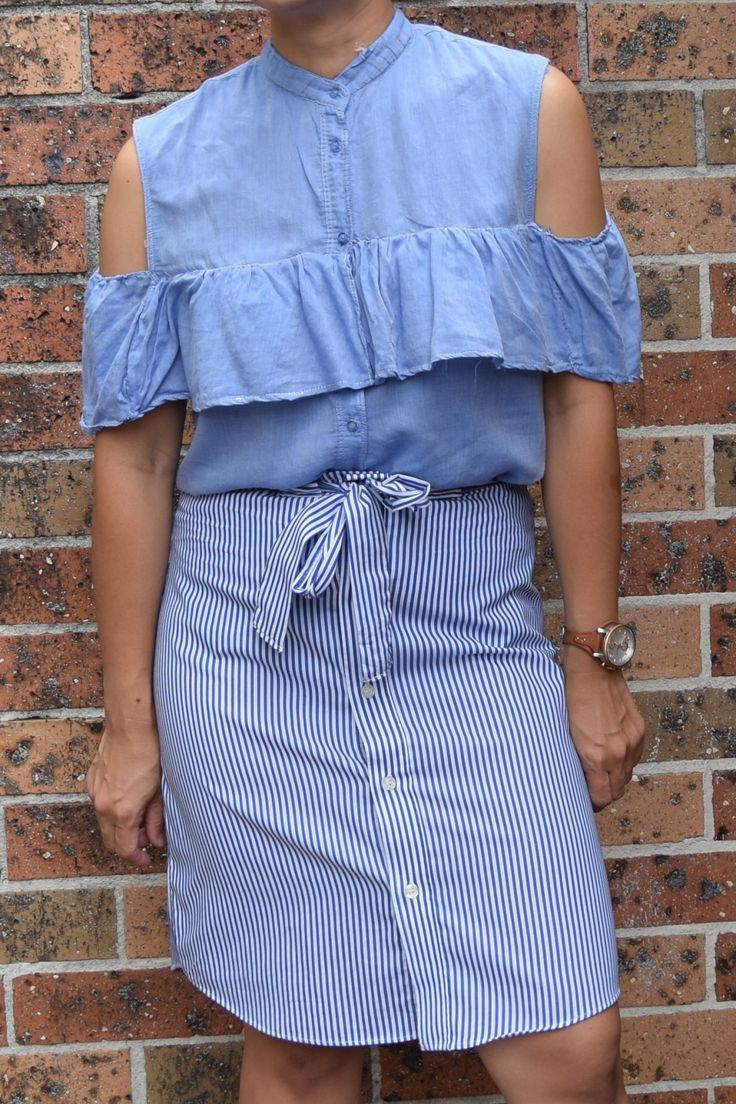diy refashion sewing men's shirt button up skirt women