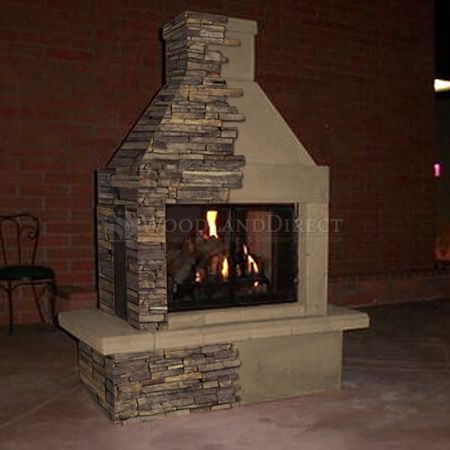 Mirage Stone 3 Sided Wood Burning Outdoor Fireplace