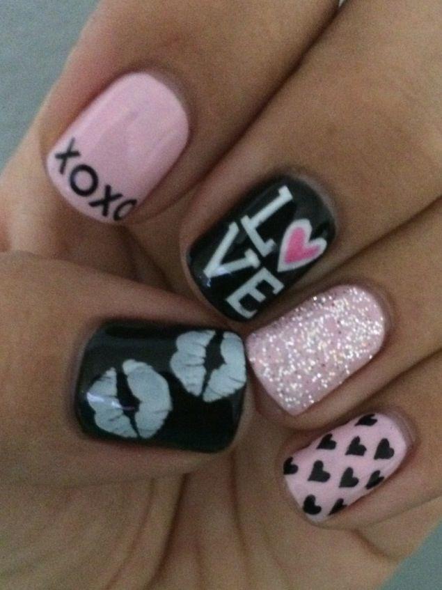 Fun Valentine Nails #gelnails #nailart #valtentinenails