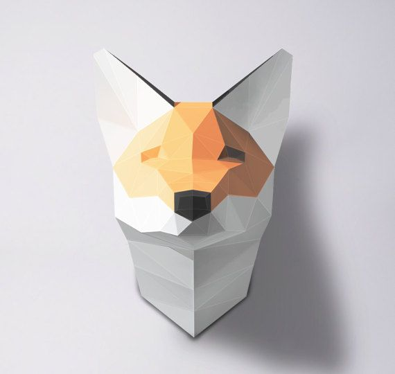Fox Sculpture Papercraft Make your own paper fox Room por PolySheet