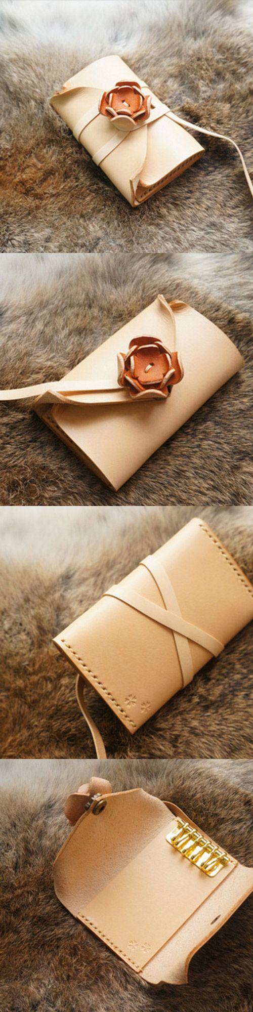 Handgemachte Leder Vintage Frauen kurze Schlüssel Brieftasche Geldbörse Brieftasche