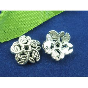 Image of 100Pcs Antique Silver Flower End Beads Caps 10mm