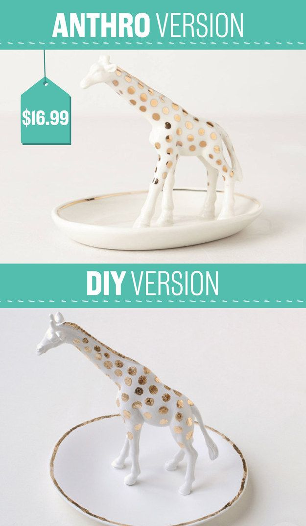 This giraffe trinket dish costs $16.99 at Anthro, but you can make it for half that at home. | 26 Impossibly Cool Anthropologie Knockoffs You're Gonna Want To Make Right Now