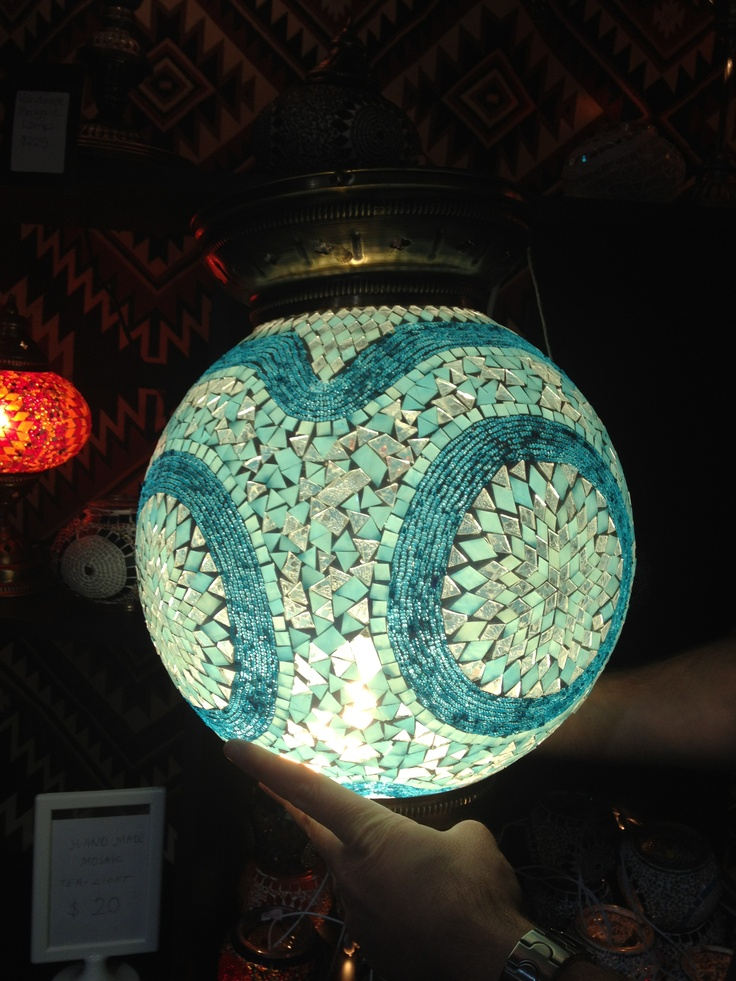 Here's my new mosaic lantern ALL LIT UP :) Can't wait to get it installed!