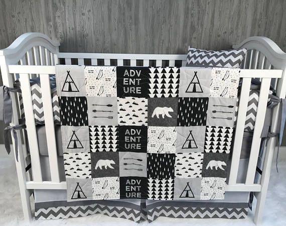 Baby Nursery Sets Crib Bedding, Black And White Aztec Nursery Bedding