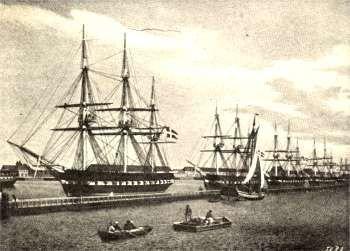 Fregatter klargøres og udrustes på Holmen i 1849. (Affotografering af maleri af C. Eckersberg)