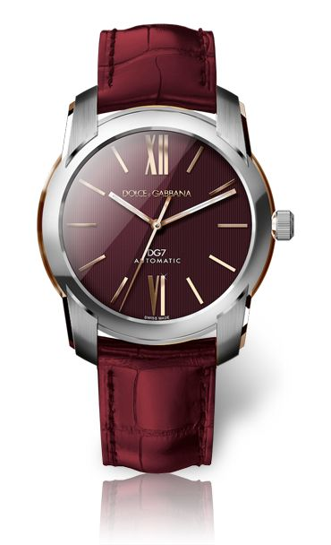 Steel and Gold Watch for Men with Burgundy Dial - D&G Watches   Dolce & Gabbana Watches for Men and Women
