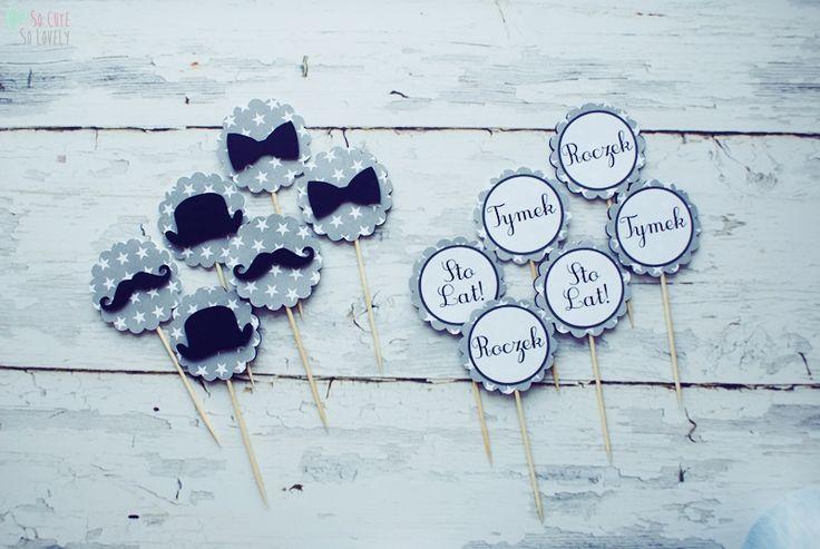 #birthday #party #toppers #cupcake #muffin #sweet #handmade #kids #boy #cricut #explore #craft #home #decor  #black #white #mustache