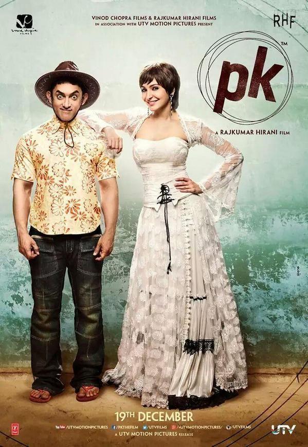 Anushka Sharma and Aamir Khan in PK poster. #Bollywood #Movies