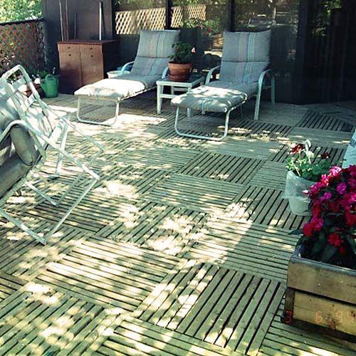 GreatDeck Outdoor Wood Deck Tile Green Patio