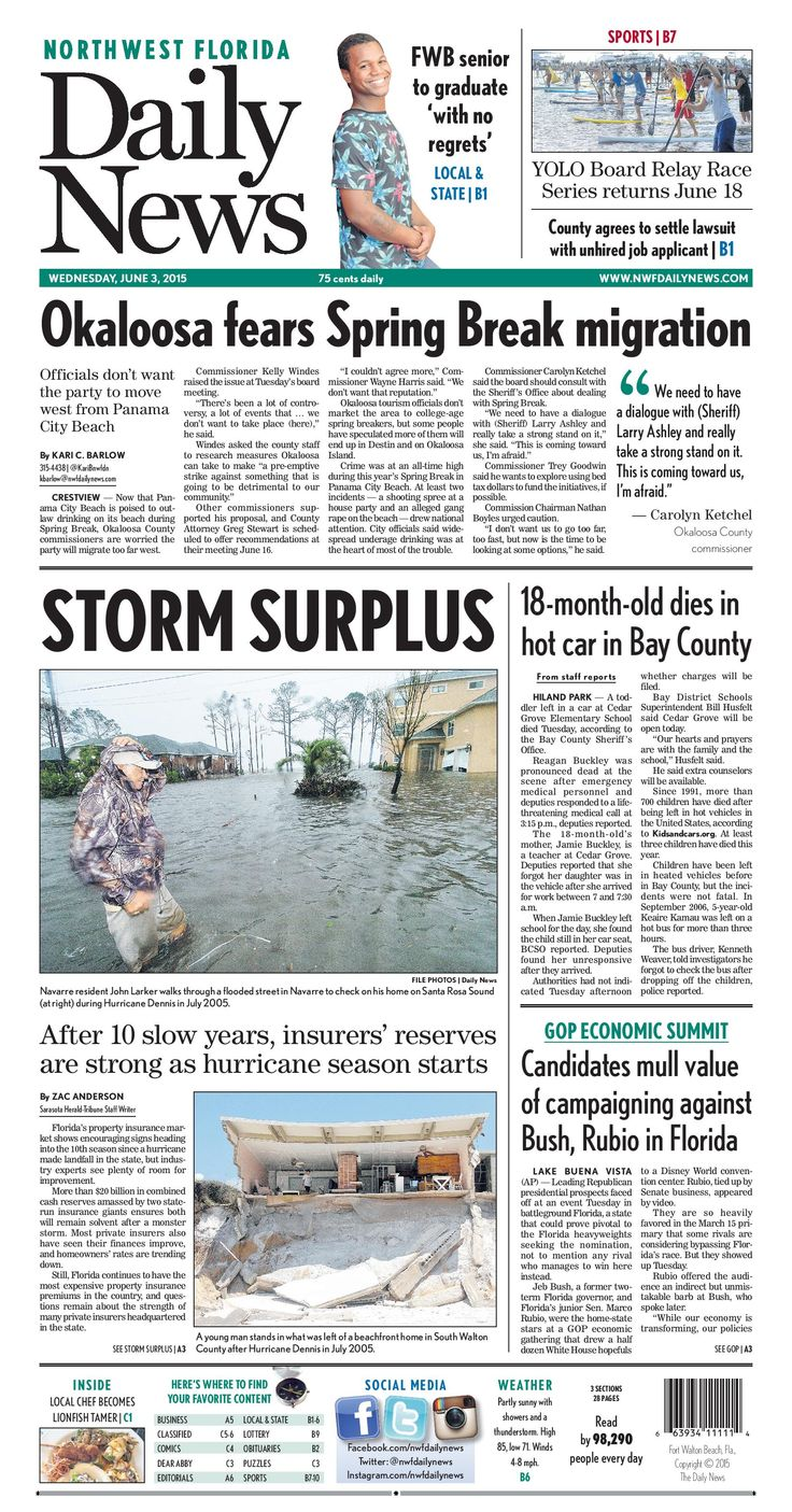 The Jan. 17, 2016, front page of the Northwest Florida Daily News: Answering the plea | Fort