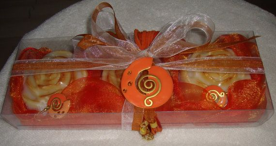 Orange Gift Set for Women with Luxury by JoannasScentedSoaps
