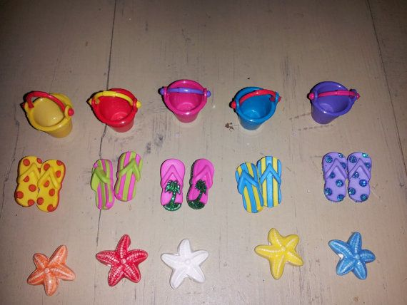 Fairy Garden Beach Miniature Set Flip Flops by MagikalFairyland