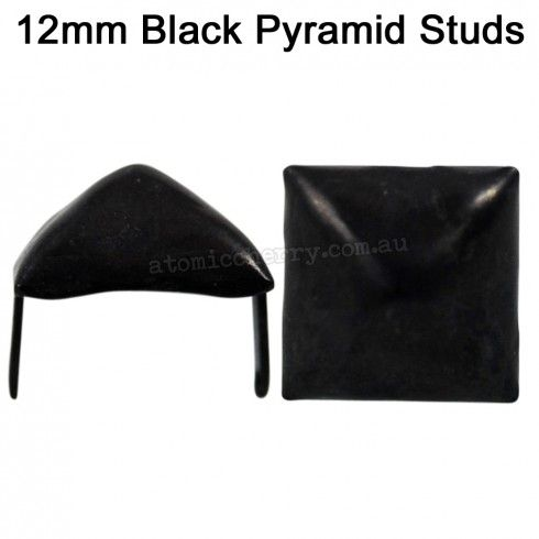 12mm Pyramid Studs Black (Pack of 50) $10