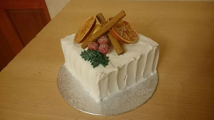 Rustic Christmas cake quarter