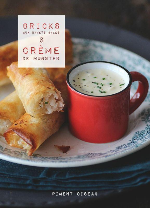 Salted turnips crispy rolls and munster cream