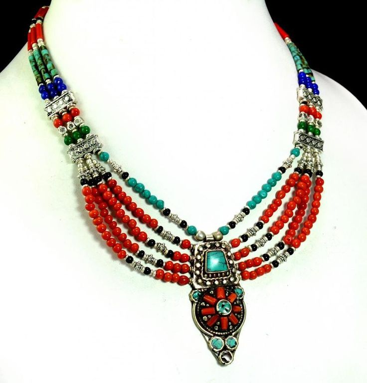 A Vintage Silver Nepalese Turquoise Coral Designer Gemstone Necklace #Handmade #Choker