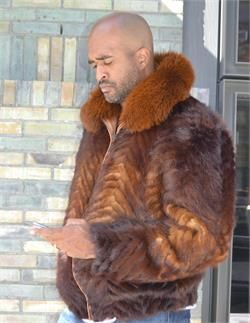 HipHopCloset.com - Buy Genuine Whiskey Two Shade Tails Jacket with Fox Collar - Find Winter Fur Coats for men for sale