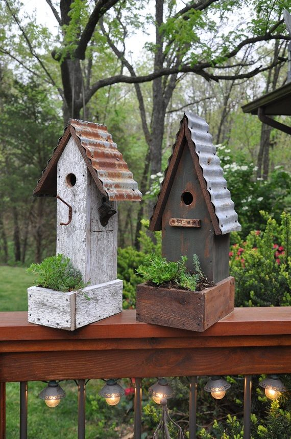 Rustic garden birdhouses with planters Rebeccau0027s Bird