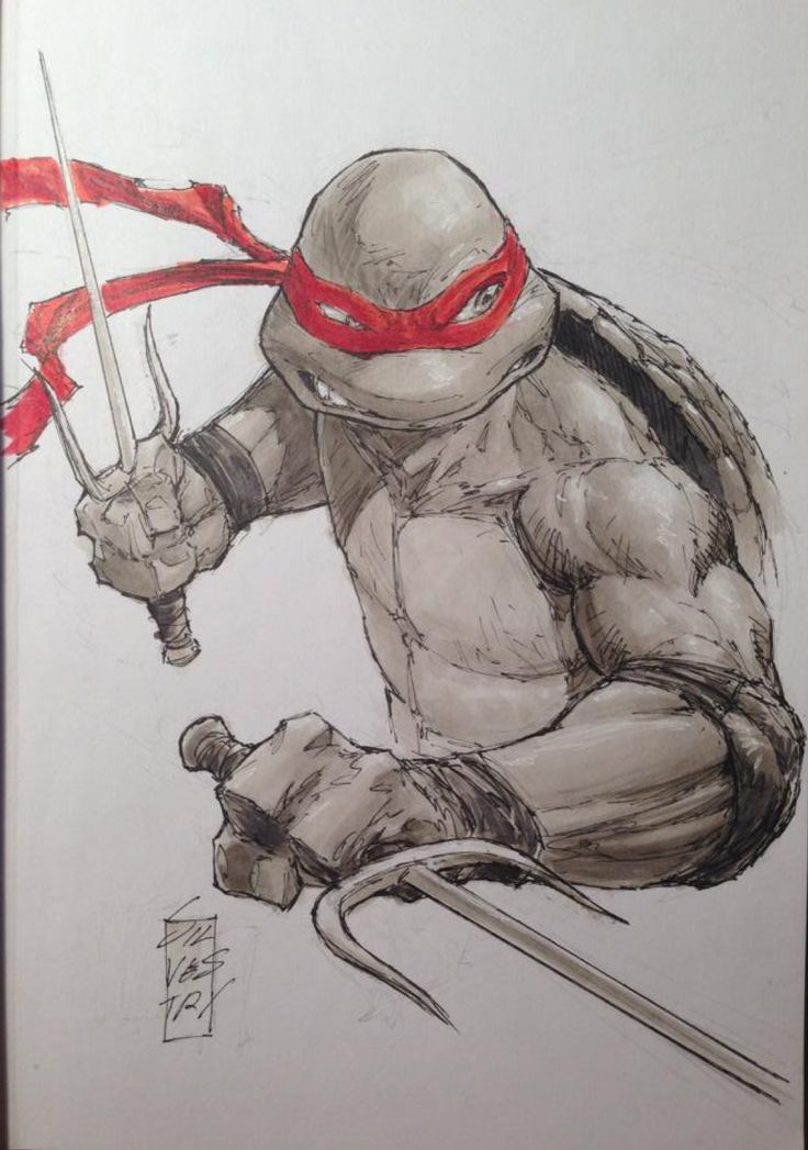 Teenage Mutant Ninja Turutles - Raphael sketch by Marc Silvestri *