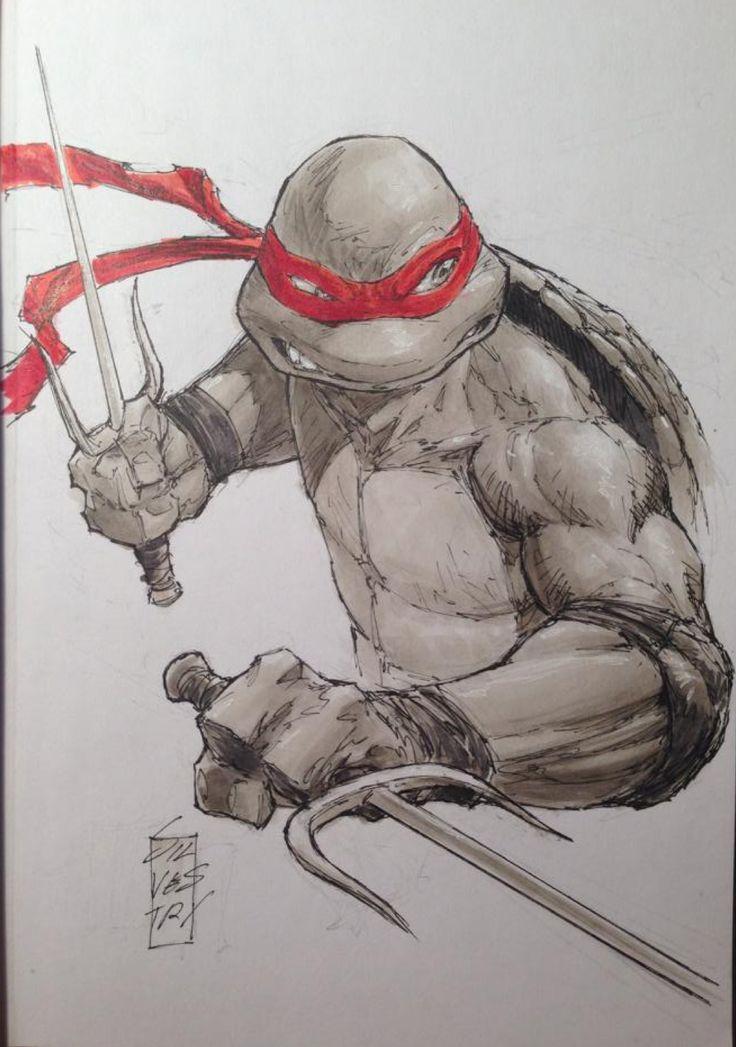 Teenage Mutant Ninja Turutles - Raphael sketch by Marc Silvestri *