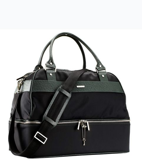Sturdily constructed from shower-proof nylon and calf leather, this gym bag features a lower compartment that can be used for shoes and wet items. http://www.zocko.com/z/JJ6Rr