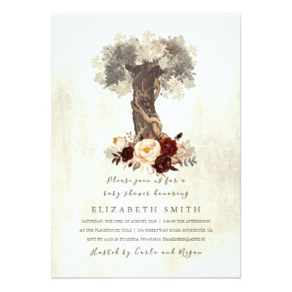 Rustic Tree Floral Burgundy Baby Shower Card - baby gifts child new born gift idea diy cyo special unique design
