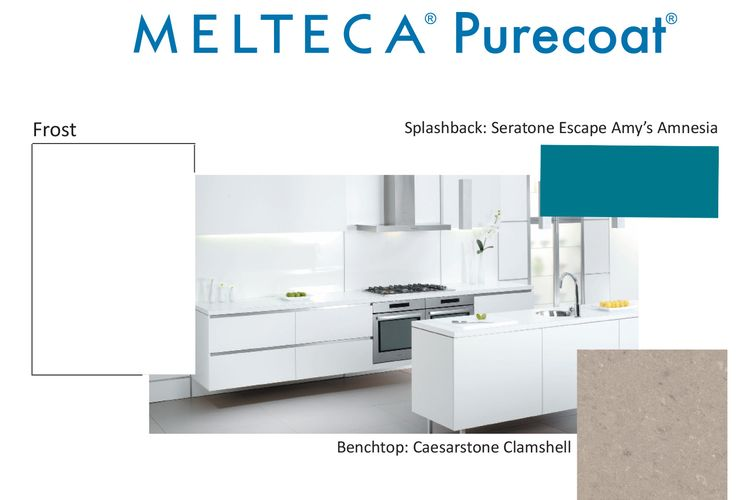 Melteca Purecoat Frost with a splashback in Seratone Escape Amy's Amnesia and a Caesarstone Clamshell benchtop