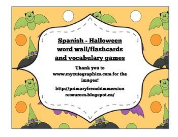 Spanish Halloween flashcards & vocabulary games
