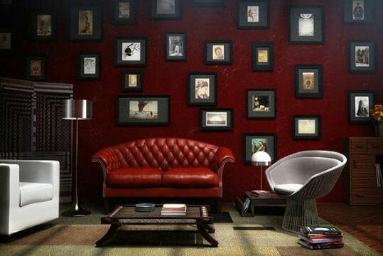 Enchanting red living room ideas with wall of frames