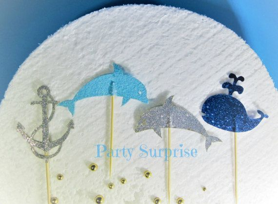 Dolphin Cupcake Toppers Nautical Party Blue and by PartySurprise