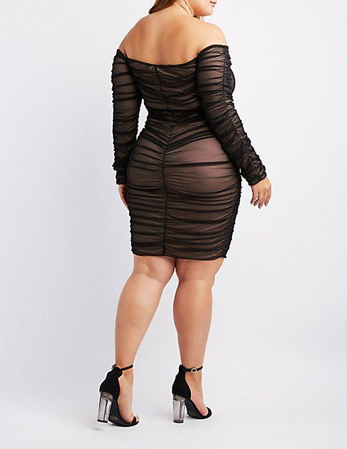 76f5357fb26 Plus Size Mesh Ruched Bodycon Dress  plussizedresses