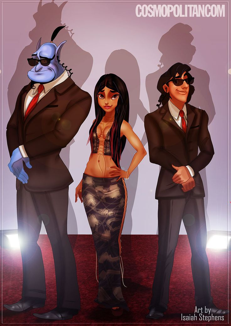 Princess Jasmine (​Aladdin​) as Christina Aguilera. And Aladdin and Genie (out of a bottle) as her security guards.