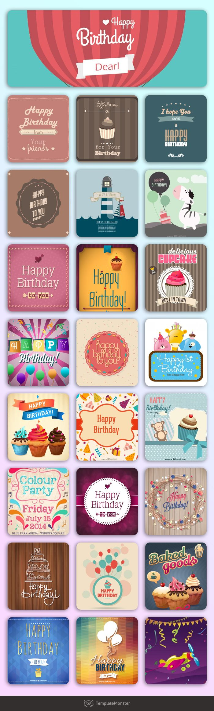 Download for FREE cool vector Postcards. Make this Birthday party very special. #postcard #postcarddesign #freeposcardmockup #postcardvector #birthdaycards https://www.templatemonster.com/blog/birthday-freebies-vector-postcards/