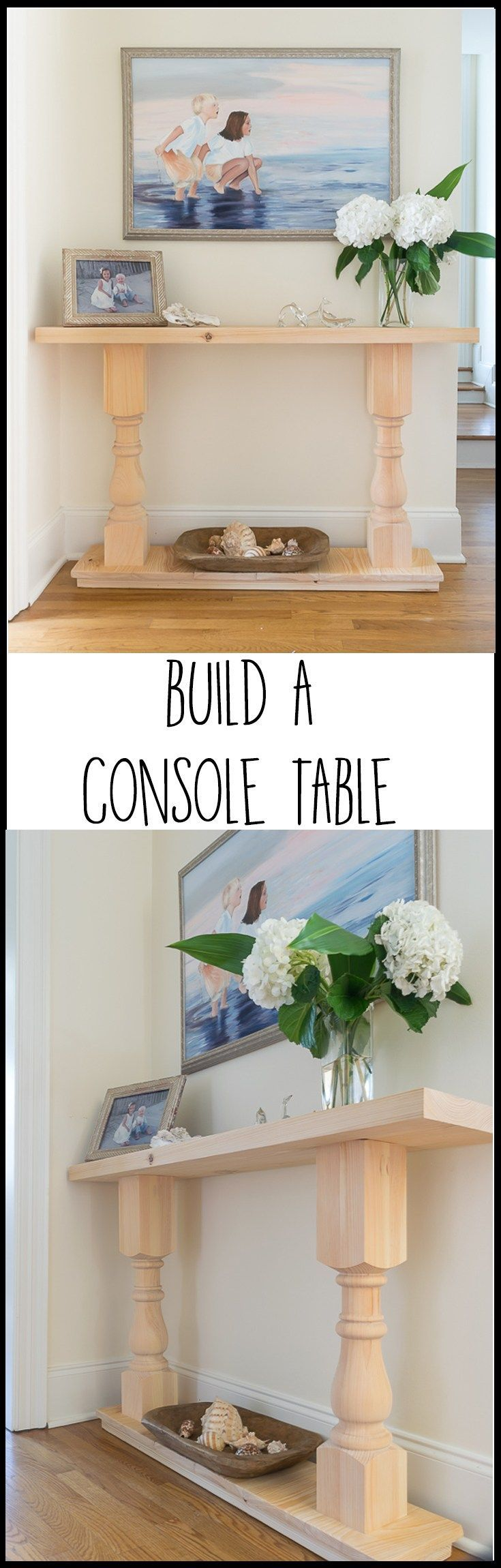 This easy DIY console table was the first piece of furniture I ever tried to build. Step by step, illustrated tutorial with recommended supplies and tools. A perfect spruce-up for my home decor.