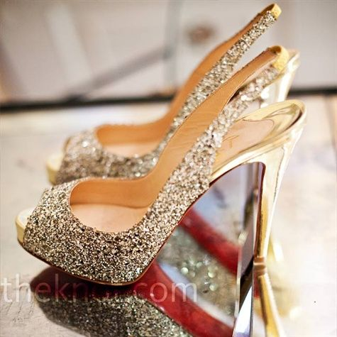 Crystal Bridal Shoes: Sparkly Shoes, Glitter Shoes, The Bride, Weddings Shoes, Christian Louboutin, Glitter Heels, Paintings Brushes, Bridal Shoes, Gold Shoes