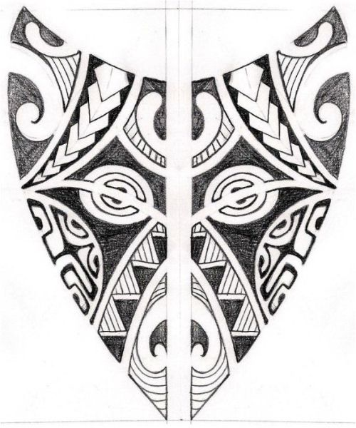 Polynesian Tattoo Drawings | Polynesian Tattoo Design in Shield Style. #maori #tattoo #tattoos