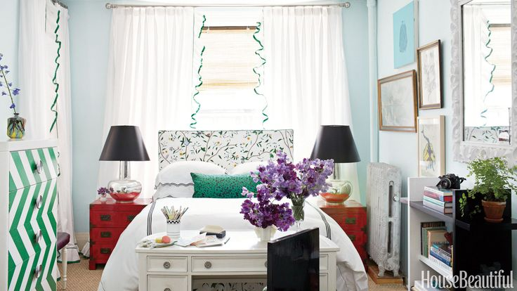 Slipcovering! If you're not happy with your old headboard, it's an inexpensive way to change up your room's style. In a tiny Brooklyn studio apartment, designer Nick Olsen covered a length of foam in Schumacher's Hong Kong to add a soft touch to the metal Heimdal bed from IKEA.   - HouseBeautiful.com