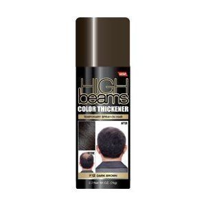 High Beams Color Thickener Temporary Spray-On Hair - Dark Brown 2.7 oz by High Beams. $4.99. Easy to use.. Quick coverage for bald/thinning areas.. Washes out in one shampoo.. Salon quality formula.. High Beams Color Thickener Temporary Spray-On Hair is your answer to thinning hair! Our product is a salon quality, highly concentrated formula which can effectively cover bald spots or thinning hair areas. High Beams Intense washes away with just one shampooing, with ...