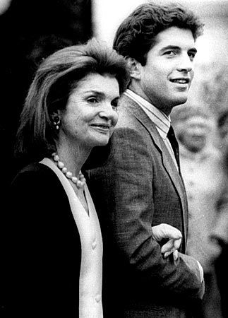jackie kennedy w/ jfk jr.  He had her coloring, eyes, smile. What beautiful-looking people. Gone too soon.