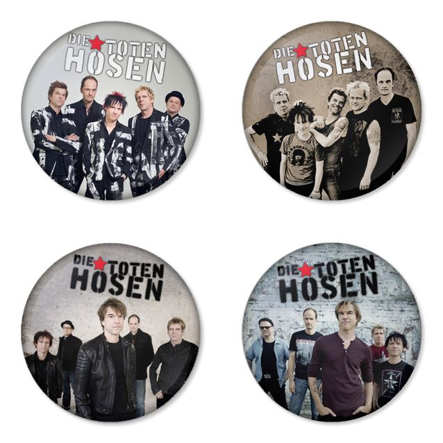 DIE TOTEN HOSEN Rock Band logo Button Badge 1.75 inch Set. 4 pcs in package. You can choose back side of badge. we have Pinback ($7.49), Fridge Magnet ($8.49), Pocket Mirror ($8.49), Bottle opener Keychain ($9.99). The best Ideas Gift for Birthday, Party, Concert. The band Head line up fastivals at Rock am Ring, Rock im Park and Nova rock on 2015. Member is Campino, Andi, Breiti, Kuddel and Vom. Albums that famous them. is kauf mich!, ballast der republik, opium fürs volk, zurück zum glück.
