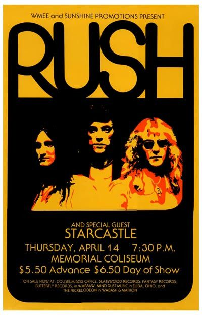 "A great Rush concert poster from the show where they rocked the Allen County Memorial Coliseum in Fort Wayne, IN on April 14, 1977! Ships fast. 11x17 inches. Exercise your ""Freewill"" and check out the"
