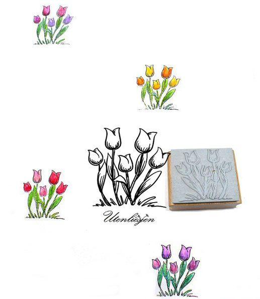 Frühlingshafter Motivstempel mit Tulpen
