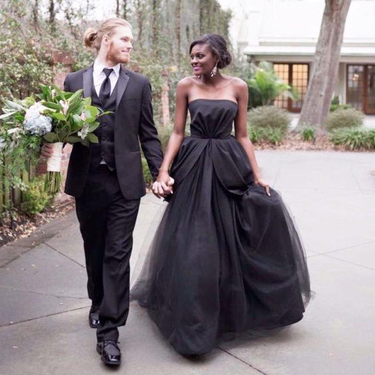 Beautiful interracial couple wedding photography ❤ Love the bold black wedding gown #love #wmbw #bwwm #swirl #wedding