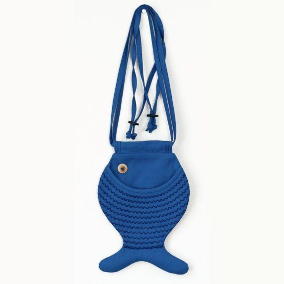 Fish Bag Blue Fish Purse Persian Blue Cross Body Bag Cotton Bag Marine Style Mediterranean Boho Beach Wear Quilted Purse Holiday Shopping