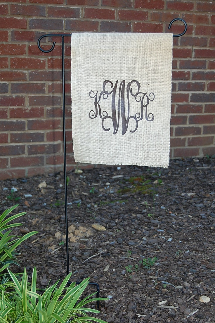 Burlap Monogram Initial Flag For Indoor Or Outdoor Use