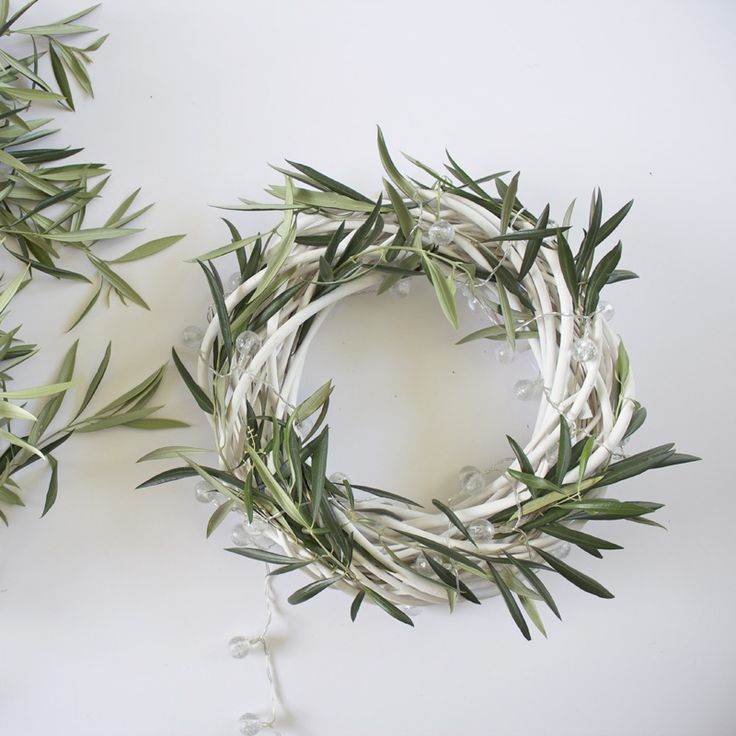 DIY: Olive Branch and Frosted Light Wreath   Style By Freedom